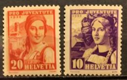 SWITZERLAND  - MH*  - 1933 -  # B67, 68 - Svizzera