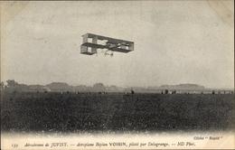 Cp Aérodrome De Juvisy, Aéroplane Biplan Voisin, Piloté Par Delagrange, Flugpioniere - Autres Communes