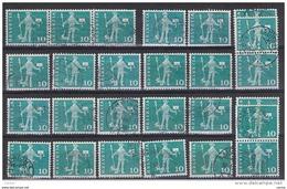 SVIZZERA:  1960/63  MESSAGGERO  -  10 C. VERDE-BLU  US. -  RIPETUTO  24  VOLTE  -  YV/TELL. 644 - Suisse