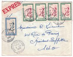 1956 - ENVELOPPE ETIQUETTE EXPRES AFFRANCHIE À 65F Avec 15F (2 PAIRES) + 5F CAD CASABLANCA BOURSE Pour PARIS FRANCE - Marruecos (1891-1956)
