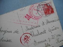 BEINWIL Am See  -  Carte Avec CENSURA Posta Estera Pour GRENOBLE   -  Cachet Rouge Rond + Rectangulaire  - 1943 - Suisse - UR Uri