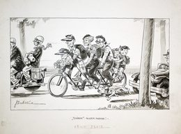 (Tandem Fahrrad) - Fahrrad Fahren Verkehr Auto Automobil Bicycle Karikatur Caricature - Non Classés