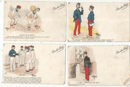 Cp , Militaria , Humoristique , Illustrateur , Signée , CHOCOLAT LOUIT , LOT DE 4 CARTES POSTALES - Humour