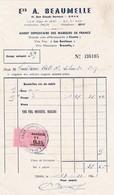 Timbre Fiscal Série Unifiée 0.25 NF Sur Facture  A.Beaumelle ..Oran 1961 - Algérie (1924-1962)
