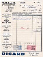 Timbres Fiscaux Série Unifiée 10 Francs & 0.15 NF Sur Facture O.R.I.A.C..Oran 1961 Pub Ricard - Algérie (1924-1962)