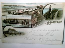 Gruss Aus Helgoland. Alte, Seltene Mehrbild Lithographie Farbig, Gel. 1895. 4 Abb. - Duitsland