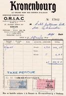 Timbres Fiscaux Série Unifiée 10 Francs & 0.15 NF Sur Facture O.R.I.A.C..Oran 1961 Pub Kronenbourg - Algerien (1924-1962)