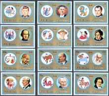 3431 ✅ Space Astrology Zodiac Napoleon Lenin Ghandi Kennedy 1973 Fujeira 12v Set MNH ** 15ME - Astrology