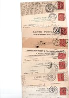 TIMBRE TYPE SEMEUSE LIGNEE..10c ROSE....VOIR DETAIL......LOT DE 100 SUR CPA.....VOIR SCAN......LOT 14 - 1903-60 Semeuse Lignée