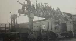 Photo ABL RAILWAY Railroad HEAVY GUN SK L/40 Bruno 280mm Artillerie Sur Voie Ferrée BRASSCHAAT 1927 Train Trein - Oorlog, Militair