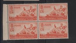 1938 AOI Africa Orientale Italiana 1,75 L. MNH Quartina Con Bordo Foglio +++ - Italienisch Ost-Afrika