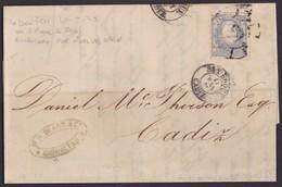 1870. GIBRALTAR A CÁDIZ. 50 MILS. ED. 107 MAT. RC 63. FECHADOR Y MARCA FORWARDING AGENT. VAPOR ADELA. MUY INTERESANTE. - Gibraltar