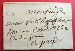 Eure-Lettre Avec Marque Linéaire 26 VERNON (24*7)- Pour Paris - Storia Postale