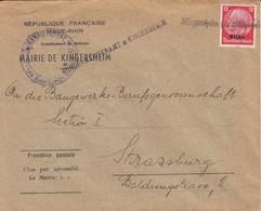 Env Affr Michel Elsass 7 Obl Kingersheim (Kr Mülhausen Els) Adressée à Strassburg - Marcophilie (Lettres)