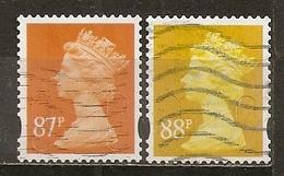 Grande-Bretagne Great Britain Machins 87 & 88p Stamps Obl - Machins