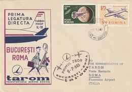 """Aviation : 1ère Liaison Bucarest - Rome Par """"TAROM"""". Sur Env. Illustrée. - Avions"""