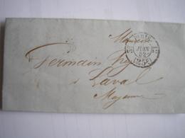 FRANCE - LAC Du 8/06/1852 Arrivée à Laval Le 9/06/52 - Marcophilie (Lettres)