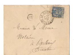 B17 28 11  1897 LETTRE La Chèze Carhaix  (dept   22  35 29)  Cachet OR - Postmark Collection (Covers)