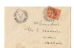 B17 08 07 1901 LETTRE   Gare De Guingamp  Carhaix  (dept   22   29) - Postmark Collection (Covers)