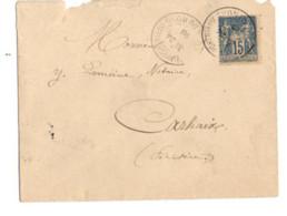 B17 06 03 1893 LETTRE St Quay Portrieux  Carhaix  (dept   22  35 29)  2 Ambulants - Postmark Collection (Covers)