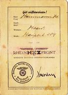 Quittungsbuch, NSZ-Rheinfront, Bezugsgebühr, Für Die Dauer Des Krieges, NSZ=Verlag - 1900 – 1949