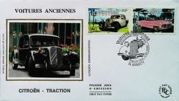 FRANCE - FDC - 2000 - CITROEN TRACTION (Carré De Soie) & PINK CADILLAC (Oblitération 74 Annecy ) Enveloppe Premier Jour - Cars