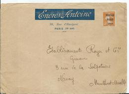 PREOBLITERE - POSTES PARIS 1922 Sur Enveloppe ENCRES ANTOINE - PARIS - Postmark Collection (Covers)