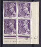 FRANCE (COINS DATES) : Y&T  N° 413  DU  10/02/1942  TIMBRES  NEUFS  SANS TRACE  DE  CHARNIERE ,   A  V0IR . - 1940-1949