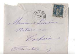 B17 09 11 1893 Lettre Lannion Plouaret Brest Carhaix   (dept 22 29 56) Ambulants - Postmark Collection (Covers)