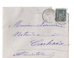 B17 20 11 1893 Lettre Morlaix St Brieuc Brest Carhaix Lannion   (dept 22 29 56) Ambulants - Postmark Collection (Covers)