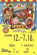 "Japan - Japanese Card DISNEY RESORT LINE.  Carte DISNEY RESORT LINE Du Japon.   ""Toy Story Mania  -  2012"" - Disney"
