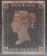 212/ SG: 2,Plate 2 ; Used; Four Fine Margins;QH; 1840; Cat  £  375.00 - Gebraucht