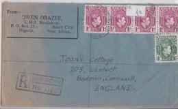 Benin City Bookshop Owen Obazee British Nigeria Registered Air Mail Cover 27.09.1948 To Bodmin Cornwall Uk - Nigeria (...-1960)