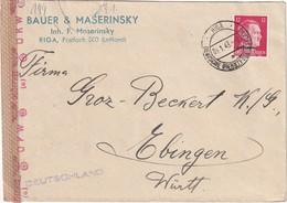 ALLEMAGNE 1943 DEUTSCHE DIENSTPOST OSTLAND  LETTRE CENSUREE DE RIGA - Ocupación 1938 – 45