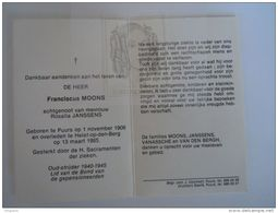 Doodsprentje Franciscus Moons Puurs 1908 Heist-op-den-Berg 1985 Oudstrijder 1940-1945 Echtg Rosalia Janssens - Images Religieuses