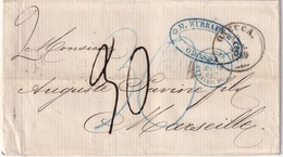 RUSSIE 1869 LETTRE DE ODESSA POUR MARSEILLE CACHET ENTREE AUTRICHE PAR STRASBOURG - 1857-1916 Empire
