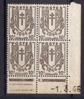 FRANCE (COINS DATES) : Y&T  N° 670  DU  1/03/1946  TIMBRES  NEUFS  SANS TRACE  DE  CHARNIERE ,   A  V0IR . - 1940-1949
