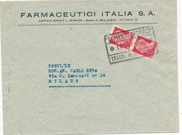 1945 LUOGOTENENZA COPPIA 0,20 CENT SENZA FASCI IN USO RECAPITO AUTORIZZATO - Poststempel