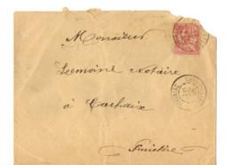 B17 21 07 1903 Lettre Iffiniac Carhaix Brest Vitré  (dept 22 29 56) Ambulant - Postmark Collection (Covers)