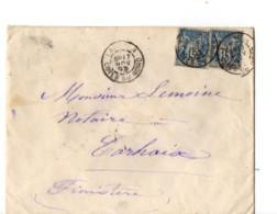 B17 17 11 1893 Lettre Lannion Brest Carhaix St Brieuc (dept 22 29 56) Ambulants - Postmark Collection (Covers)