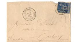 B17 08 10 1883 Lettre Plancoet Paris  Carhaix Rennes Gare (dept 22 29 56) Ambulants - Marcophilie (Lettres)