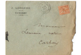 B17 09 02 1902 Lettre Guingamp Carhaix (dept 22 29 56) Ambulant - Postmark Collection (Covers)