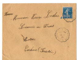 B17  1920 Lettre Loudéac Carhaix (dept 22 29 56) Ambulant - Postmark Collection (Covers)