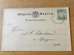 KS3 Bayern Ganzsache Stationery Entier Postal P 8 Von Edenkoben Nach Speyer - Bavière
