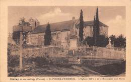 (86) Environs De Civray - Saint St Pierre D'Exideuil - L'Eglise Et Le Monument Aux Morts - Civray