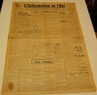 L'information De L'Est Du 20 Août 1943.(la Bataille De L'huile) - Revues & Journaux