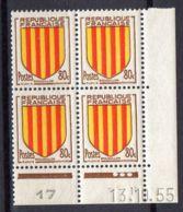 FRANCE (COINS DATES) : Y&T  N° 1046  DU  13/01/1955  TIMBRES  NEUFS  SANS TRACE  DE  CHARNIERE ,   A  V0IR . - 1950-1959