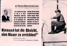 Allemagne, Berlin, Neues Deutschland, Niemand Hat Die Absicht, Eine Mauer Zu Errichten Walter Ulbricht (15.6.61) 10x15 - Berliner Mauer