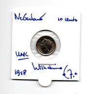 NEDERLAND 10 CENT 1948 WILHELMINA UNCIRCULATED - [ 3] 1815-… : Royaume Des Pays-Bas
