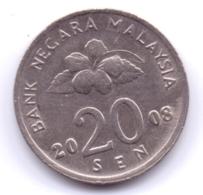 MALAYSIA 2008: 20 Sen, KM 52 - Malaysia